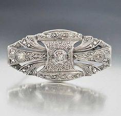 Sterling Silver Art Deco Diamond Brooch – Boylerpf