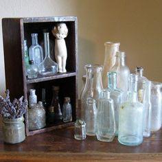 Collection of old vintage medicine bottles.