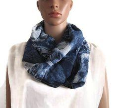 Snood double tour femme bleu motif jean en polyviscose, écharpe mi-saison  femme, e1fcd1fae96