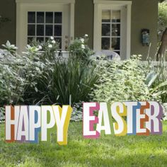 Happy Easter Yard Sign by Outdoor Nativity Store Outdoor Nativity, Lawn Ornaments, Jolly Holiday, Plastic Design, Easter Colors, Outdoor Signs, Yard Art, Seasonal Decor, Happy Easter