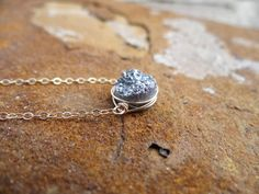Gold on Silver Sideways Wire Wrapped Druzy by TheLoveleighLocket