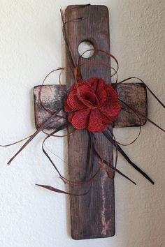 Reclaimed wood cross made from a French(flat) wood stave--can be seen on Etsy. (SharonsWhimsicalShop)