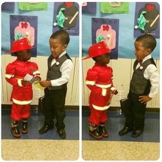 """It was career day at my son's school (4 years old). He decided to go as a regular pioneer and my wife was able to capture a photo of him sharing a tract with a classmate."""""""