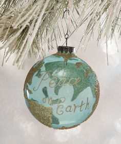 Add a touch tranquility of to your Christmas tree with this pretty Peace on Earth Globe Ornament. Transparent glass ornament with golden deco beads. Christmas Deer, Vintage Christmas, Christmas Bulbs, Xmas, Christmas Crafts, Globe Ornament, Glass Ornaments, Lowes Christmas Decorations, Holiday Decor