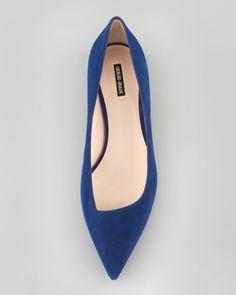 Giorgio Armani  Suede Pointed-Toe Ballerina Flat