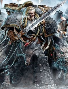 """Warhammer 40k, Space Wolves Legion - """"Primarch Leman Russ leads his Space Wolves Legion against their rivals the Thousand Sons during the Fall of Prospero."""""""