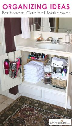 Great Organizing Ideas for your Bathroom! Cabinet Organization Makeover - Before and After photos. LivingLocurto.com #diyorganizingideas