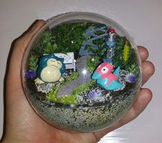 Mini miniature artificial terrarium diorama ornament decoration Pokemon Go Handmade toy Snorlax and Porygon Pokemon habitat ball  To see all the Pokemon habitat balls I have made or to place an order, please visit my Facebook page https://m.facebook.com/sparklesandstring/