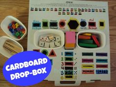 DIY Cardboard drop box with sharpies and assorted shaped/colored items - what a great idea!