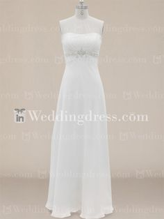 Beach simple wedding dress features in flowing chiffon. Gathered bust creates a slimming fit and beaded details trimmed the empire waistline for a glamour touch. Full length skirt flows down to the floor effortlessly. Zipper back. This dress is fully lined.