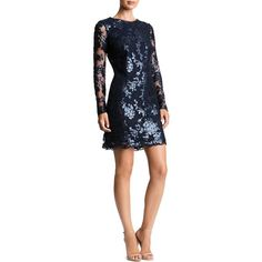 Dress the Population Grace Sequined Lace Dress ($228) ❤ liked on Polyvore featuring dresses, navy, navy blue lace cocktail dress, navy lace dress, navy dress, navy blue lace dress and sequin cocktail dresses