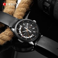 CURREN Casual Leather Strap Business Wristwatches Classic Black Quartz Men's Watch Display Date and Week Waterproof Male Clock T Shirt Time, Black Quartz, Watch Display, Color Negra, Quartz Watch, Leather Men, Watches For Men, Men Watch, Entrepreneurship