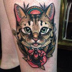 Neotraditional cat tattoo on the leg. Tattoo Artist: Young Woong Han