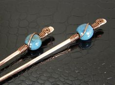 Set of Copper Wire Wrapped Hair Stick Pins Copper by BonzerBeads, $20.00