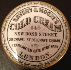 SAVORY & MOORE'S COLD CREAM POT LID LONDON
