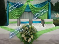 royal blue lime green silver wedding hall - Google Search