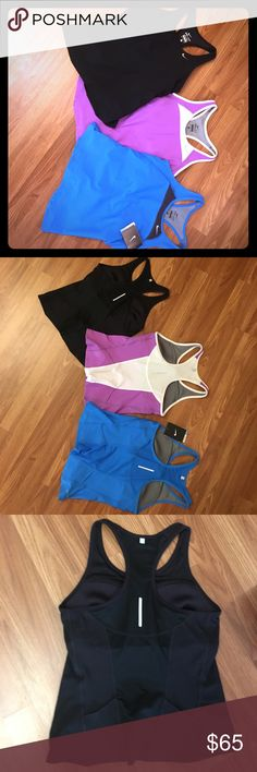3 NIKE dri-fit tops! This is a lot of 3 BRAND NEW Nike dri-fit fitted workout tops with built in sports bras!  Purple white with gray swoosh, blue and amazing black!  Enjoy! Nike Tops Tank Tops