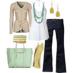 Like the buttery yellow accents with this- Polyvore