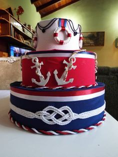bolo falso marinheiro Nautical Birthday Cakes, Nautical Cake, Nautical Wedding Theme, Nautical Party, Baby Birthday, Birthday Party Themes, Sailor Cake, Carousel Cake, Baby Shower Parties