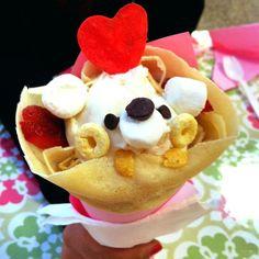 Crêpe en cornet de glace Griddle Cakes, Crepe Cake, Egg Recipes For Breakfast, Crepe Recipes, Mille Crepe, Waffles, Pancakes, Cute Food, Waffle