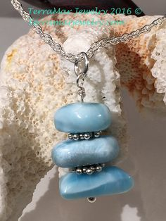 Larimar Pendant Genuine Larimar Bead Dangle by TerraMarJewelry