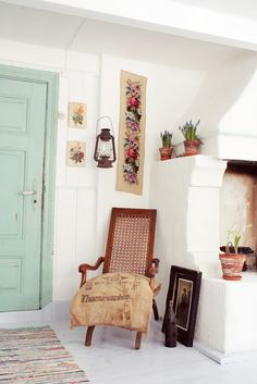 Painted door for bedroom. Love our white walls and the spa feel - this could be a good pop of color.