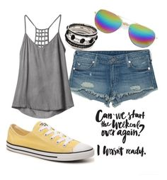 summer fun by suzannekobb on Polyvore featuring polyvore fashion style RVCA True Religion Converse Boohoo clothing