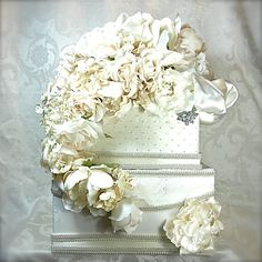 Flowers and Lace Wedding Card Box Money Holder by WrapsodyandInk, $119.00