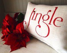 White Burlap Christmas jingle pillow matte red by TheBurlapCottage, $35.00
