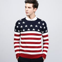 59c04aac86b 2017 Winter New Fashion Stripe Sweater O neck Slim Fit Knitting Warm Coats Pullover  Men Clothing European And American Style-in Pullovers from Men s ...