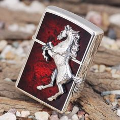 Japanese Plated Silver 3D Marble Horse Zippo Lighter