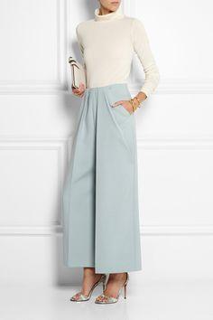 DELPOZO - Pleated twill wide-leg pants