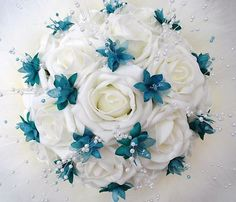 Teal wedding bouquet. really like this idea!