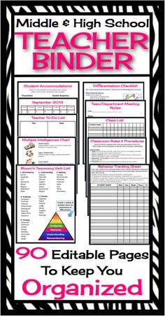 editable and customizable Teacher binder / Organizer has absolutely everything you will need to start your year off organized and ready to roll! All you have to do is print, hole punch, and add to a three ring binder and everything you need in one place! Teacher Binder Organization, Teacher Tools, Teacher Resources, Organized Teacher, Teachers Toolbox, Teacher Planner, Math Teacher, Teacher Stuff, Organizing