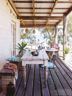 Use table under house for this - Boho Decor Patio Outdoor Rooms, Outdoor Living, Outdoor Decor, Rustic Outdoor Spaces, Outdoor Landscaping, Outdoor Areas, Outdoor Life, Landscaping Ideas, Surf Shack