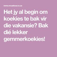 Het jy al begin om koekies te bak vir die vakansie? Kos, Catering, Food And Drink, Treats, Baking, Biscuits, Cookies, Recipes, African