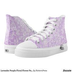 Lavender Purple Floral Flower Pattern Printed Shoes