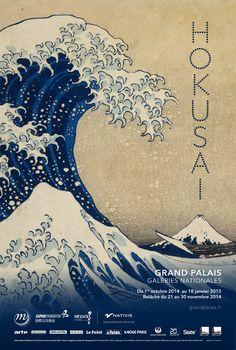 affiche de l'exposition Hokusai © Affiche Rmn-Grand Palais, Paris 2014