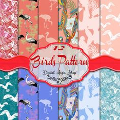 12 Digital paper birds pattern Pink Blue  with by DigitalMagicShop, $2.00