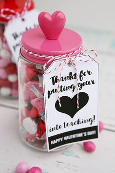 Thanks for putting you heart into teaching teacher gift idea for valentine& Kinder Valentines, Little Valentine, Valentines Day Treats, My Funny Valentine, Valentine Day Crafts, Valentine Ideas, Walmart Valentines, Valentines Day Presents, Printable Valentine