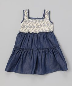 Look what I found on #zulily! Blue Floral Cutout Ruffle Dress - Infant & Toddler by Les Petits Soleils by Fantaisie Kids #zulilyfinds