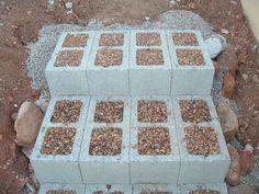 cinder blocks could help shape design in pea gravel for sitting area