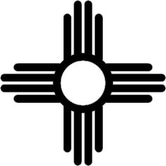 Zia sun symbol, the four sacred obligations one must develop (a strong body, a clear mind, a pure spirit, and a devotion to the welfare of others), according to the Zia's belief