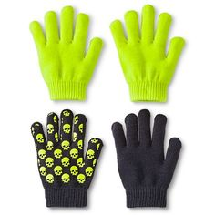 Boys' Skull Gloves - Green and Black (One Size Fits Most)