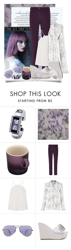 """""""Tricky Trend: Daytime Pajamas"""" by tiffanysblues ❤ liked on Polyvore featuring ARTE, Le Creuset, Viyella, Skin, Calvin Klein, Ray-Ban, Coco's Liberty and TrickyTrend"""