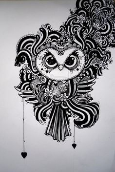 Zentangle owl [by VengeanceKitty] not really a fan of owls but this is really cute
