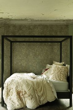 Georgina Duvet Cover - Anthropologie.com    romantic/forest bedroom - textured cream sheets, dark brown canopy bed to resemble tree trunks