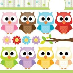 Items similar to Cute Owls Variety - Clip Art Set Digital Elements for Cards, Stationery and Paper Crafts and Products on Etsy Owl Crafts, Diy And Crafts, Crafts For Kids, Paper Crafts, Owl Clip Art, Owl Art, Decoupage, Owl Classroom, Owl Always Love You