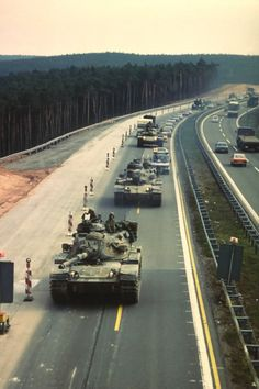 tanks | American M-60 tanks operating on European highway during the Cold War.