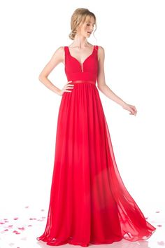 e7449e95fe6 Red Ruched Chiffon Long Gown with Satin Band - The Prom Shop Långa  Brudtärna Klänningar